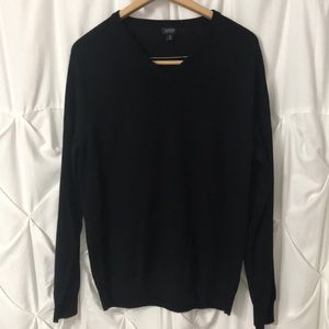 J. Crew Black V Neck Sweater Merino Wool - soft